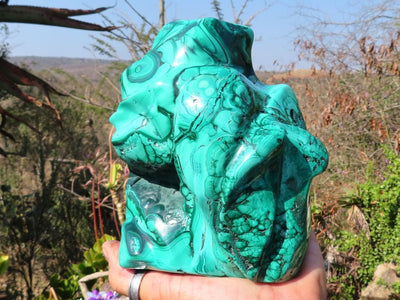 Polished Solid Standing Malachite Sculpture x 1 from Congo