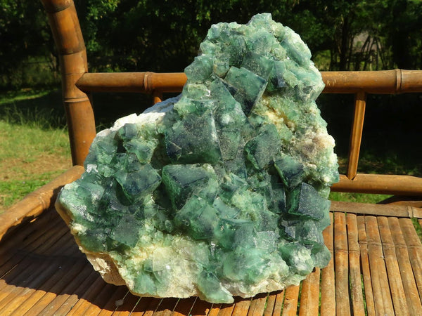 Natural Extra Large Cubic Fluorite Green and Purple Specimen x 1  from Mandrosonoro, Madagascar
