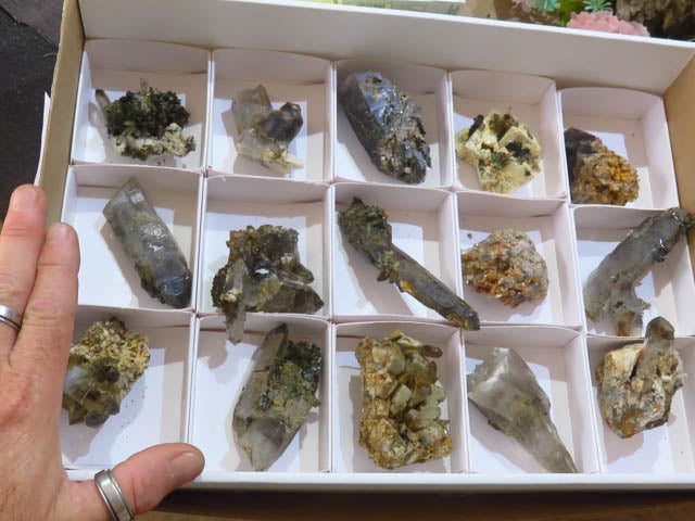 Natural Smokey Quartz, Aegerine and orthoclase clusters x 15 from Zomba, Malawi - TopRock