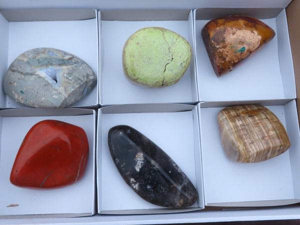 Polished Large Mixed Labelled Free Forms x 6 from Southern Africa