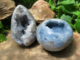 Polished Large Celestite Crystal Geode Egg & Sphere x 2 from Madagascar