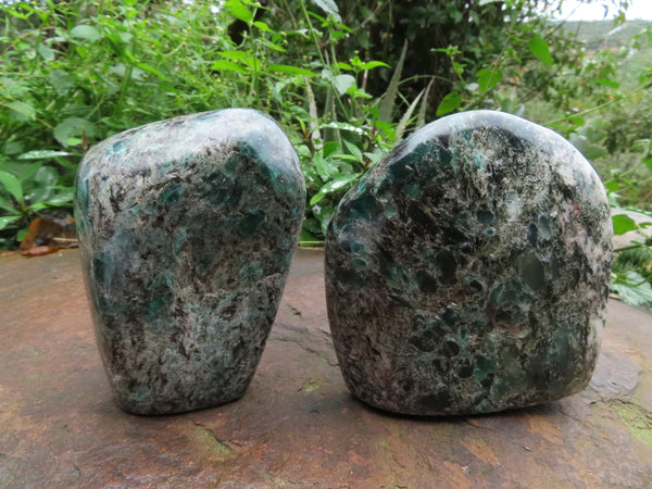Polished  Emeralds In Matrix Standing Free Forms x 2 From Sandawana, Zimbabwe