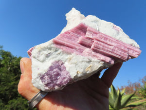 Natural Rubellite Pink Tourmaline in White Quartz Crystals x 4 from Karibib, Namibia