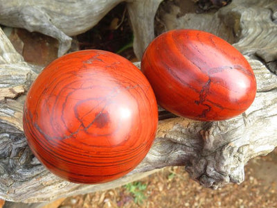 Polished Red Jasper Balls and Eggs x 8 from Zimbabwe