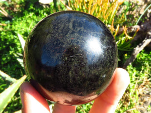Polished Black Tourmaline Ball & Crystal x 2 from Southern Africa