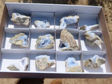 Natural Blue Lace Agate Crystal Specimens x 12 from Malawi