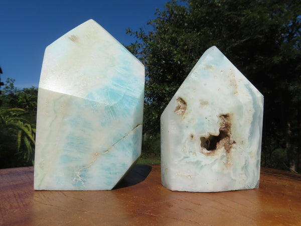 Polished  Blue Smithsonite Aragonite Free Forms x 2 From Congo