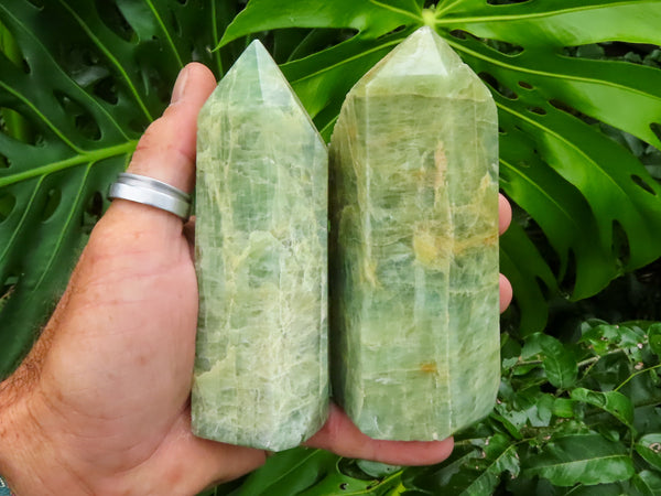 Polished Large Aquamarine Quartz Crystal Points x 2 from Angola