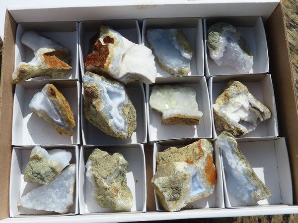 Natural Small to Medium Blue Lace Agate Specimens x 13 from Malawi