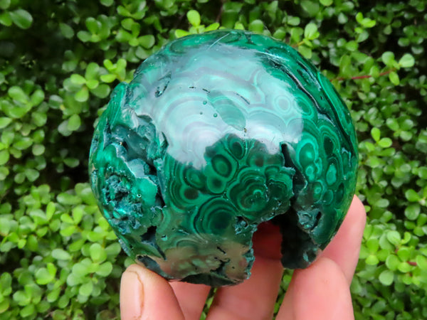 Polished Medium Crystalline Malachite Ball With Vugs x 1 from Congo