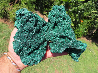 Natural Large Silky Malachite Specimens x 3 from Kasompe, Congo