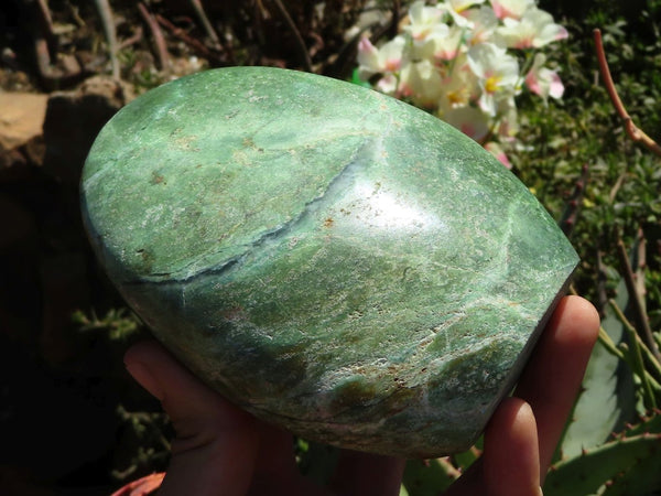 Polished Large Chrysoprase Standing Free Forms x 2 from Madagascar