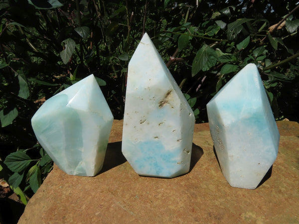 Polished  Blue Smithsonite Aragonite Angled Standing Free Forms x 3 From Congo