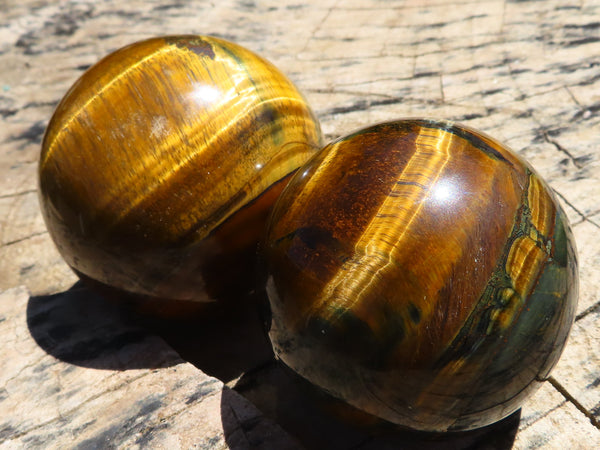 Polished Small to Medium Tigers Eye Balls x 2 from Northern Cape, South Africa
