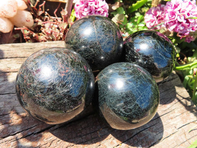 Polished Rare & Hard to Make Black Tourmaline Balls x 6 from Madagascar
