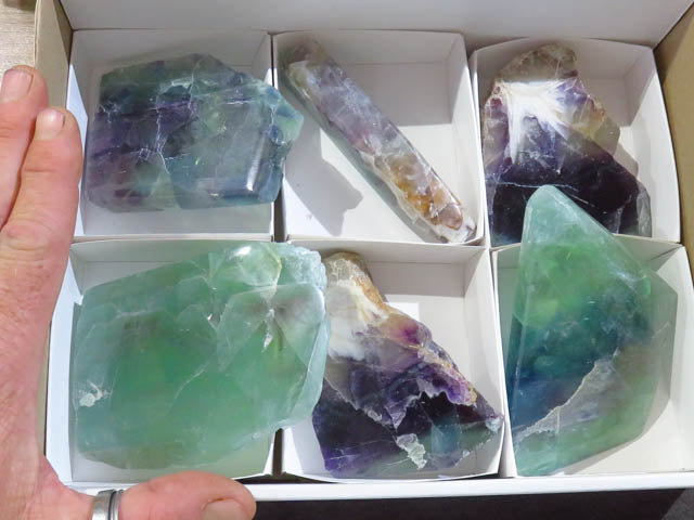 Polished Slabs of Watermelon Fluorite x 6 from Uis, Namibia - TopRock
