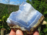 Natural Blue Lace Agate Geode Pieces x 11 from Malawi