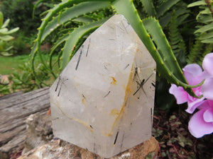 Polished Tourmalinated Quartz Crystal Point x 1 from Madagascar