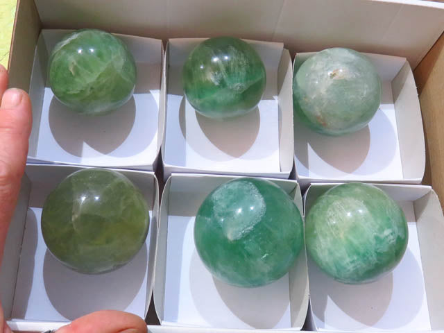 Polished Green Fluorite Balls x 6 from Madagascar - TopRock