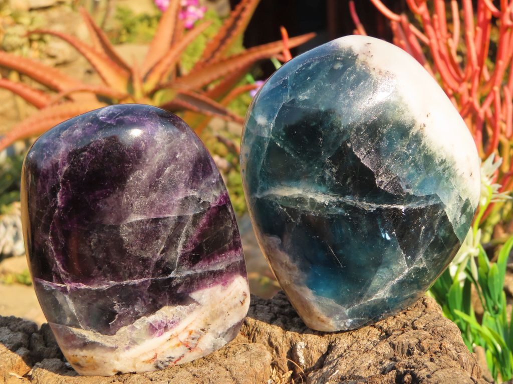 Polished Watermelon Fluorite Standing Free Forms x 2 from Namibia