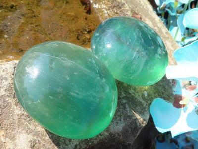Polished Emerald Fluorite Gallets x 12 from Madagascar