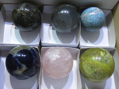 Polished Mixed Collectable Balls x 6 from Madagascar