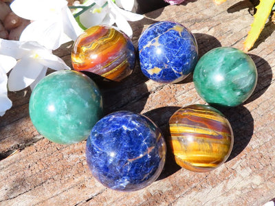 Polished Tigers Eye, Swazi Jade, & Sodalite Spheres x 6 from Southern Africa
