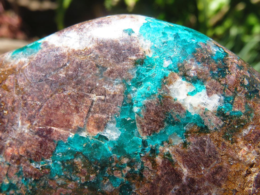 Polished Dioptase In Malachite & Shattuckite x 3 from Tantara, Congo