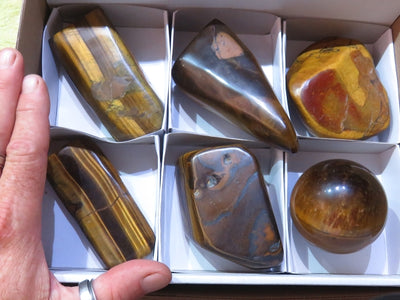 Polished Mixed Tigers Eye Products x 6 from Prieska, South Africa