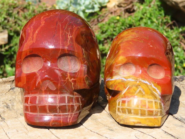 Polished Small to Medium Flame Jasper Sculpted Skulls x 2 from Madagascar