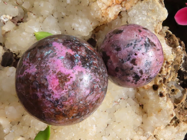 Polished Small Salrose Spheres Not Top Quality But Extremely Rare Material x 6 from Kakanda, Congo