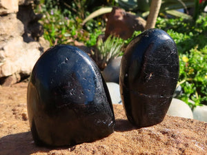 Polished Black Tourmaline Standing Free Forms x 12 from Zambia