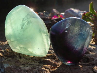 Polished Watermelon Fluorite Standing Free Forms x 12 from Vis, Namibia