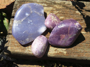 Polished Lepidolite Standing Free Forms x 4 from Zimbabwe