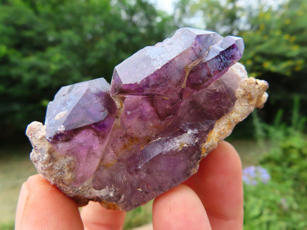 Natural Large Smokey Amethyst & Amethyst Quartz Crystal Specimens x 3 From Chiredzi, Zimbabwe