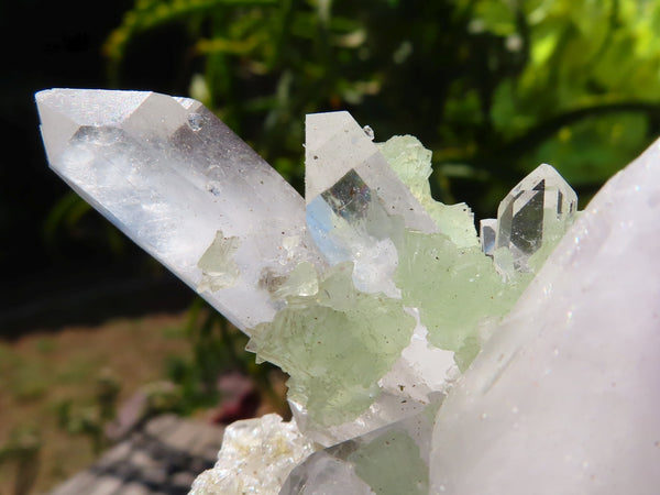 Natural Large Prehnite In Brandberg Optic Quartz With A Hint Of Amethyst Quartz Crystal x 1 from Tafelkop, Namibia