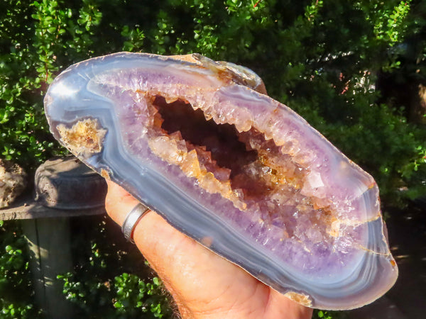 Polished XL Amethyst Crystal Geode x 1 from Mainterano, Madagascar