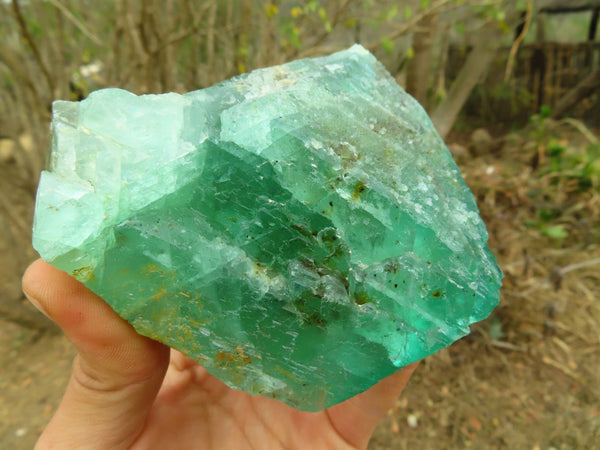 Natural Emerald Fluorite Octahedron Specimens x 2 from Riemvasmaak, South Africa