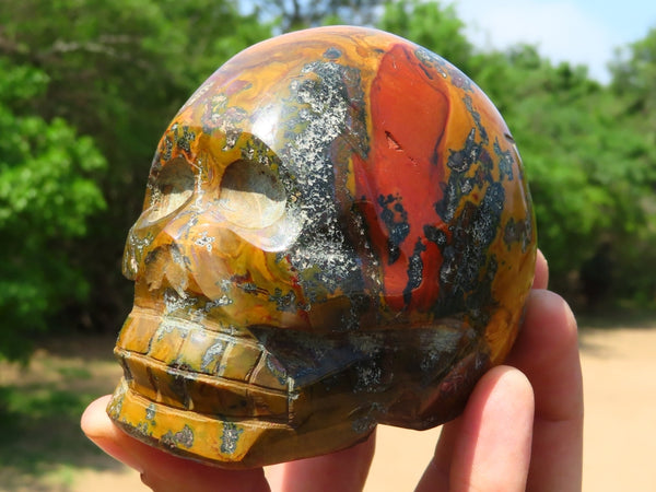 Polished Small to Medium Mixed Stones Sculpted Skulls x 6 from Madagascar