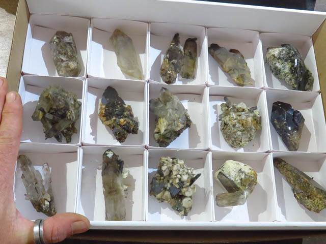 Natural Smokey Quartz and Aegerine Clusters x 15 from Zomba, Malawi - TopRock
