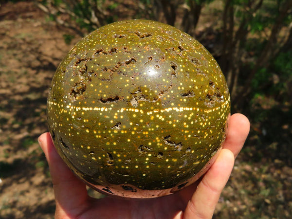 Polished Ocean Jasper Ball With Orbicular Patterns & Crystalline Vugs x 1 From Marovato, Madagascar