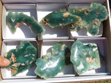 One Side Polished Mtorolite / Chrome Chrysoprase Specimens x 6 from Mutorashanga, Zimbabwe
