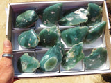 One Side Polished Mtorolite / Chrome Chrysoprase Specimens x 12 from Mutorashanga, Zimbabwe