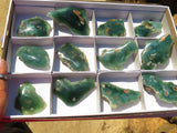 One Side Polished Rare Medium Chrome Chrysoprase / Mtorolite Specimens x 12 from Mutorashanga, Zimbabwe