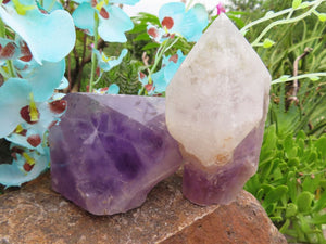 Polished & Natural Amethyst Quartz Crystal Points x 2 from Zambia