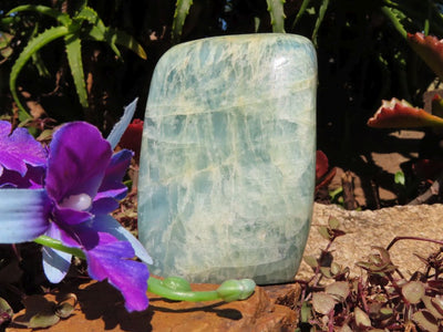 Polished Aquamarine Quartz Crystal Standing Free Form x 1 from Angola
