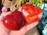 Polished Carnelian Hearts x 6 from Madagascar