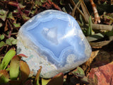 Polished Crystalline Blue Lace Agate Standing Freeforms x 6 from Malawi