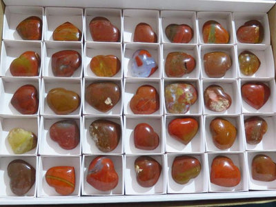 Polished Red Jasper Gemstone Hearts x 35 from Madagascar