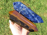 Polished Tigers Eye & Sodalite XL Double Terminated Crystals x 2 from Southern Africa